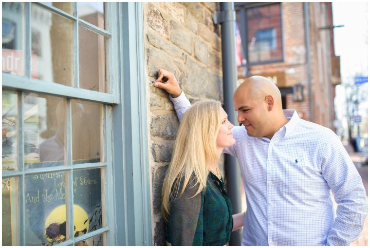 Stephanie kopf photography Virginia dc maryland engagement photographer old town alexandria engagement photography washington dc engagement cherry blossoms pink blue green pearls classic romantic portrait photographer