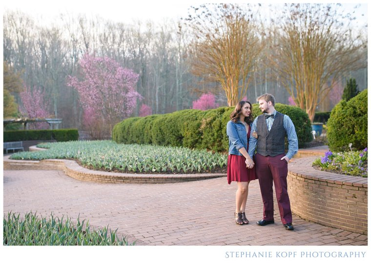 Stephanie kopf photography engagement photographer brookside gardens maryland spring red lips classic beauty flowers blossoms romantic