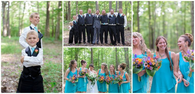 Stephanie Kopf Photography Green Wedding Photographer Virginia Louisa County light blue green wildflowers tree planting ceremony